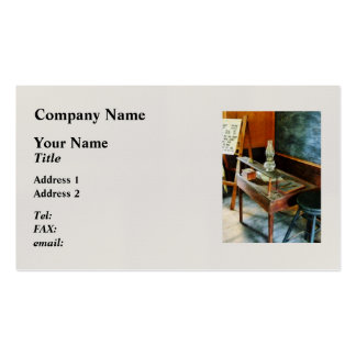 Teacher's Desk with Hurricane Lamp Double-Sided Standard Business Cards (Pack Of 100)