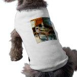 Teacher's Desk with Hurricane Lamp Dog Shirt