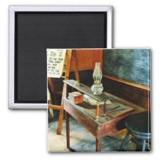 Teacher's Desk with Hurricane Lamp 2 Inch Square Magnet