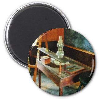 Teacher's Desk with Hurricane Lamp 2 Inch Round Magnet