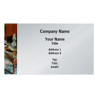 Teacher's Desk With Hurricane Lamp - Platinum Double-Sided Standard Business Cards (Pack Of 100)