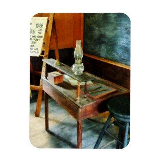 Teacher's Desk With Hurricane Lamp Rectangular Photo Magnet