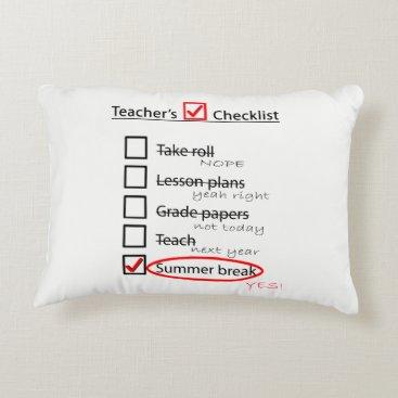 Beach Themed Teachers end of the school year checklist pillow. decorative pillow