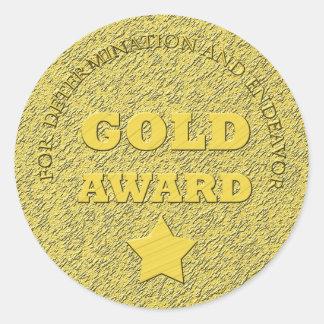 """Teacher's """"Gold Award"""" Motivational Classic Round Sticker"""