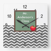 Teachers Gray Chevron Chalkboard Clock