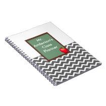 Teachers Gray Chevron Chalkboard Spiral Notebook
