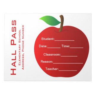 Teacher's Hall Pass Notepad