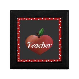Teacher's Heart Apple Tile Box Trinket Boxes