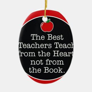 teachers heart ceramic ornament