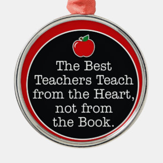 teachers heart metal ornament