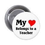 Teacher's heart pinback button