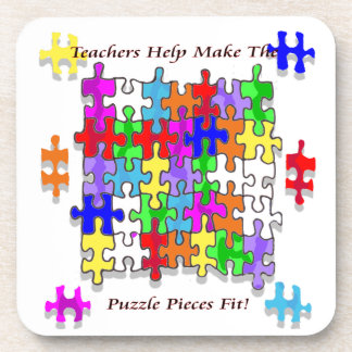 Teachers Help Make The Pieces Fit - Autism Awarene Coaster