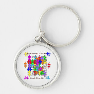 Teachers Help Make The Puzzle  Pieces Fit Silver-Colored Round Keychain