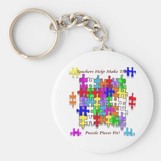 Teachers Help Make The Puzzle  Pieces Fit Key Chains