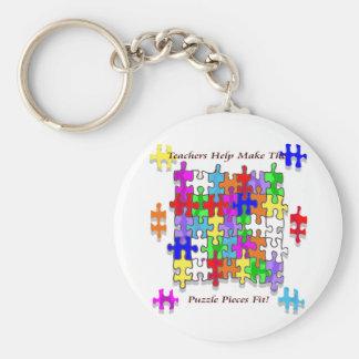 Teachers Help Make The Puzzle  Pieces Fit Keychain