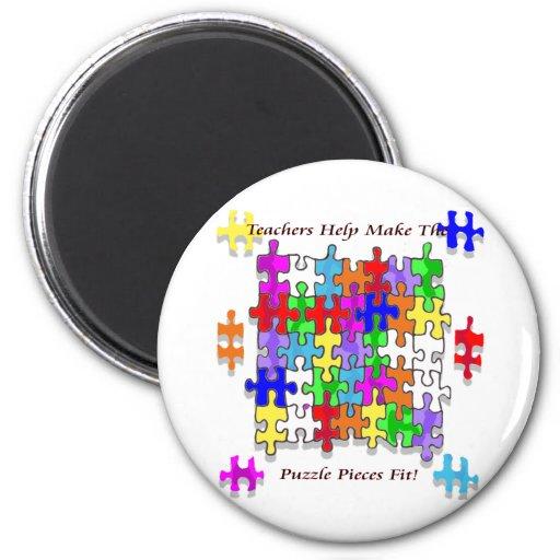 Teachers Help Make The Puzzle  Pieces Fit Fridge Magnet