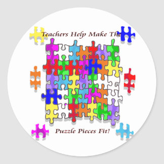 Teachers Help Make The Puzzle  Pieces Fit Classic Round Sticker