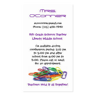 Teachers Hold it Together Paperclips Info Business Card Template