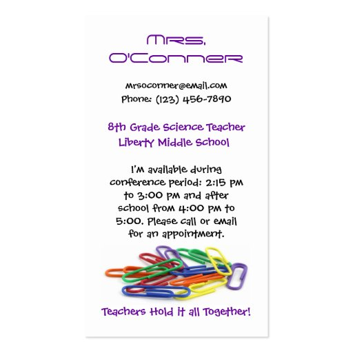 Teachers Hold it Together Paperclips Info Double-Sided Standard Business Cards (Pack Of 100)