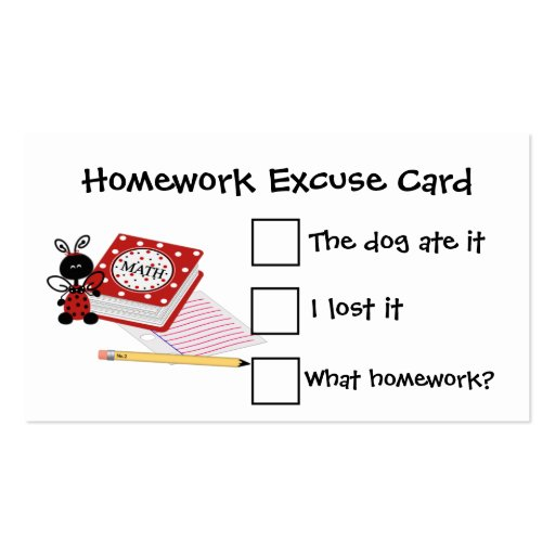 A 2 page homework excuse