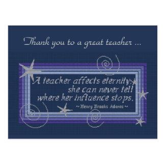 TEACHER'S INFLUENCE POSTCARD