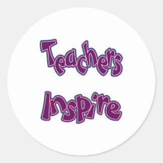 Teachers Inpsire (purple) Classic Round Sticker