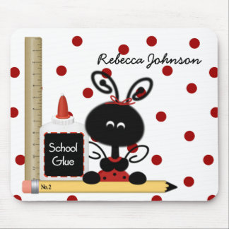 Teacher's Ladybug and School Supplies Mouse Pad