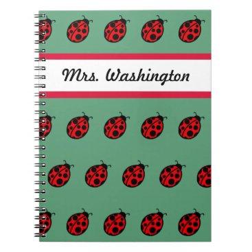 Beach Themed Teacher's Ladybug  School Notebook Gift