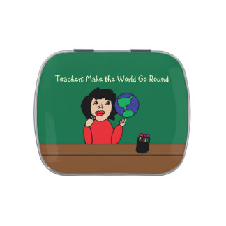 Teachers Make the World Go Round Jelly Belly Candy Tin