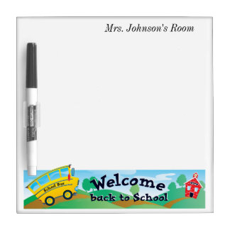 Teacher's NAME Back to School Red School House Dry Erase Whiteboards