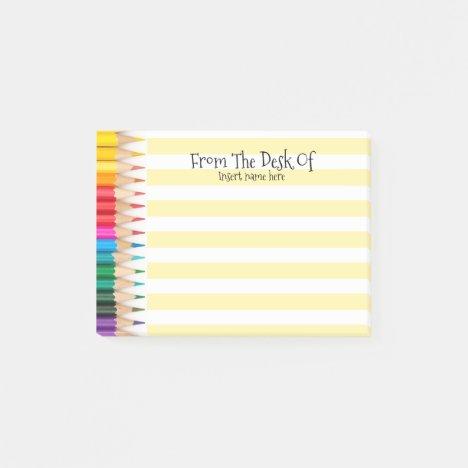 Teachers name desk organizer colored pencils post-it notes