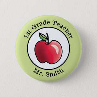 Teacher's Name Red apple Personalized Button