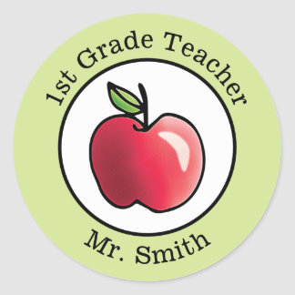 Teacher's Name Red apple Personalized Classic Round Sticker