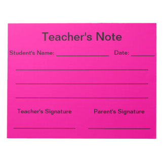 Teacher's Note (Bright Pink) Notepad