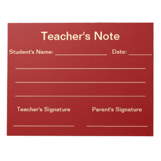 Teacher's Note Notepad (Red)