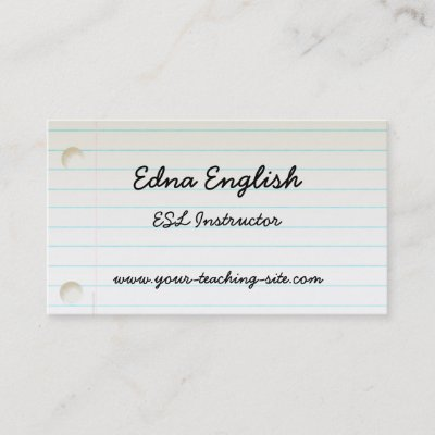 Esl teacher business cards arts arts istant elementary teacher goldfish template business card reheart Image collections