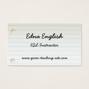 Esl teacher business cards templates zazzle teachers notebook paper business card reheart Images