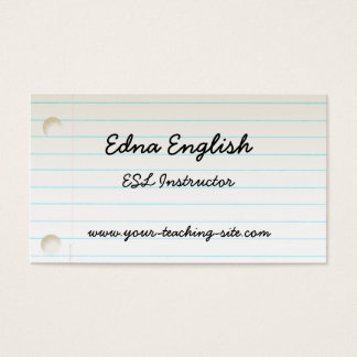 Teacher's Notebook Paper Business Card