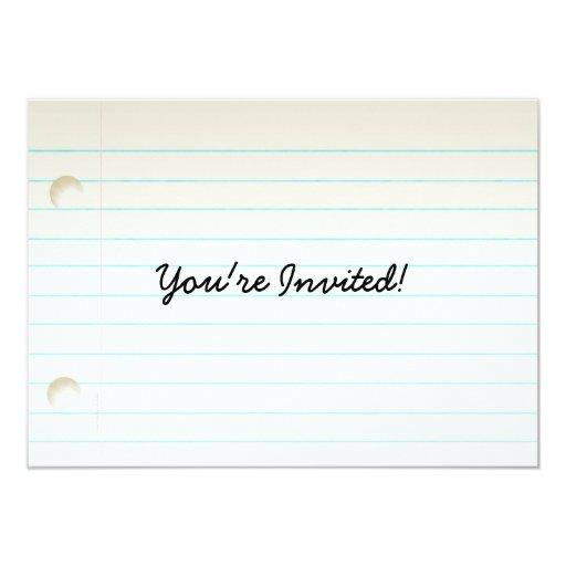 Teacher's Notebook Paper 4.5x6.25 Paper Invitation Card