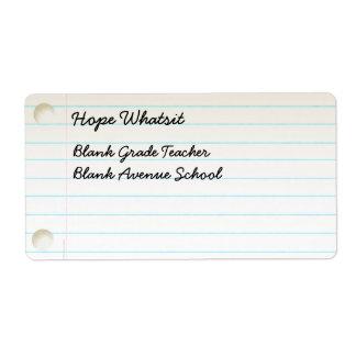Teacher's Notebook Paper Label
