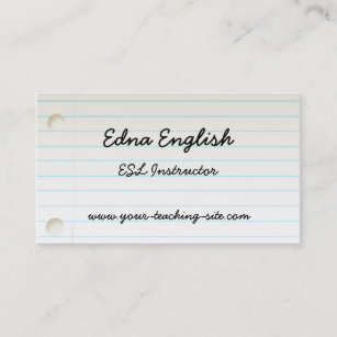 High school teacher business cards zazzle teachers notebook paper business card reheart Gallery
