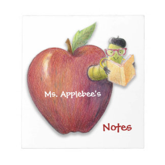 Teacher's Notes Apple with Bookworm Customizable Note Pad