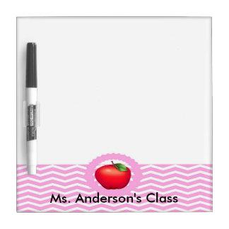 Teachers Pink Chevron Apple Dry Erase Board