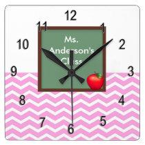 Teachers Pink Chevron Chalkboard Clock