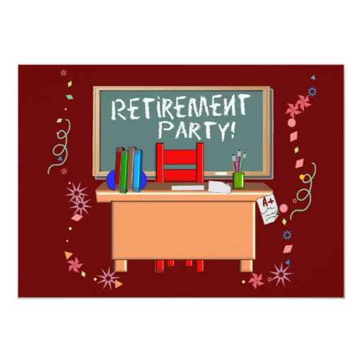 "Teachers Retirement Party Invitations 5"" X 7"" Invitation Card"