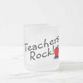 Teachers Rock Apple 10 Oz Frosted Glass Coffee Mug