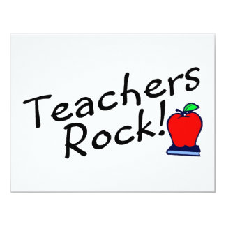 Teachers Rock Apple 4.25x5.5 Paper Invitation Card