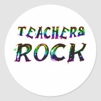 TEACHERS ROCK WITH COLOR CLASSIC ROUND STICKER