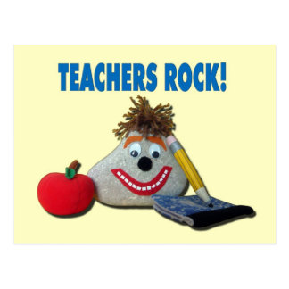 Teachers Rock! Yellow Postcard