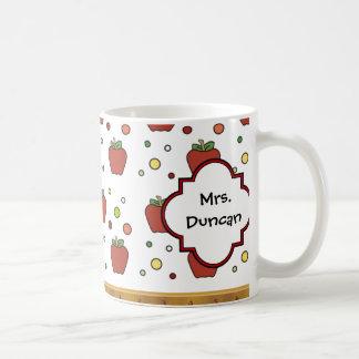 Teachers Rule Apple Pattern Personalized Coffee Mug